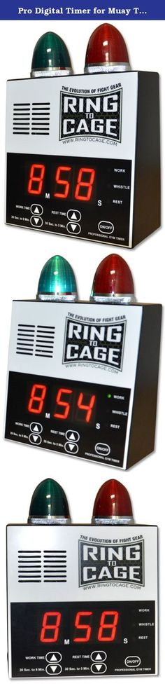 """Pro Digital Timer for Muay Thai, MMA, Kickboxing, Boxing, Martial Arts. Professional digital gym timer with lights. Workout time can be adjusted from 30 seconds to 9 minutes. Easy adjustment. Rest time can be adjusted from 30 seconds to 5 minutes. Includes end-of-round warning whistle. Advanced lighting system for easy visuals. Super large 2"""" digital display. Extra loud round bell. Ideal for all Boxing, Muay Thai, MMA, grappling fight rounds and timed training workouts One year warranty ."""
