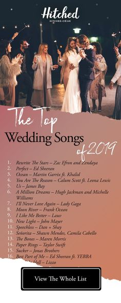 40 of the Best Wedding Songs of 2019 - - Deciding what to include in your wedding playlist? Here's our pick of the top 40 tunes that deserve a place in your big day. Wedding Song Playlist, First Dance Wedding Songs, Wedding Song List, Love Songs Playlist, Love Songs For Weddings, Wedding Music Playlists, Beyonce Wedding Songs, Most Popular Wedding Songs, First Wedding Night
