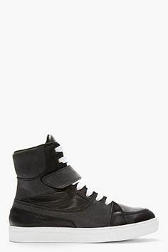 KRISVANASSCHE Matte Black Leather Velcro Strap High-top Sneakers for men | SSENSE