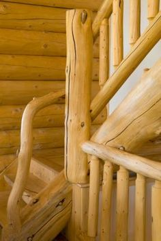 Log home decorative stairs