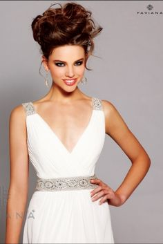 Elegant Chiffon featuring a beaded belt and straps
