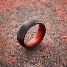Black Tungsten Ring - Red Sandalwood - 8MM