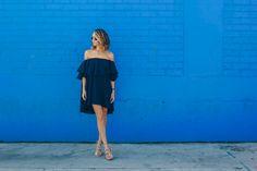 off the shoulder dress, MLM label dress, party dress, tassel shoes —via @TheFoxandShe