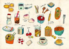 locals only - hong kong Art Print by Joanne Liu Food Illustrations, Illustration Art, Hong Kong Art, Food Drawing, Chinese Art, Chinese Food, Chinese Style, Food Art, Art Prints