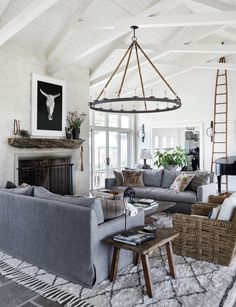 grey and beige living room decor with taupe grey slipcovered sofas, modern farmh. Antique Living Rooms, Beige Living Rooms, Cottage Living Rooms, Home Living Room, Texas Living Rooms, Grey And Brown Living Room, Cottage Interiors, Country Style Living Room, Modern Farmhouse Living Room Decor