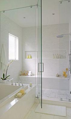 To da loos: Supersized modern shower nooks Bathroom Renos, Laundry In Bathroom, Bathroom Interior, White Bathroom, Small Bathroom, Master Bathroom, Bathroom Ideas, Serene Bathroom, Bathroom Remodelling