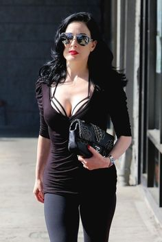 Dita von teese This is Dita casual probably after Pilates.  The underneath bra…