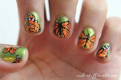 monarch butterfly nail art <3