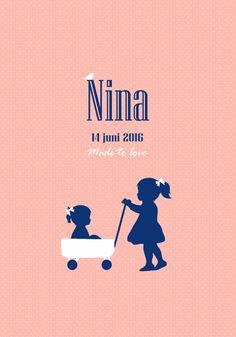 Geboortekaartje Nina - Pimpelpluis - https://www.facebook.com/pages/Pimpelpluis/188675421305550?ref=hl (# meisje - grote zus - karretje - bolderkar - roze - silhouet - lief - origineel)