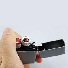 Flip top USB lighter http://www.supercoollighters.com/lighters/usb-lighters/flip-top-usb-lighter/