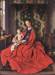 Jan Van Eyck Madonna with the Child Reading, , National Gallery of Victoria, Melbourne. Read more about the symbolism and interpretation of Madonna with the Child Reading by Jan Van Eyck. Renaissance Artists, Renaissance Paintings, Jan Van Eyck Paintings, Painting Frames, Painting Prints, Basic Painting, Ghent Altarpiece, Madonna And Child, Sacred Art