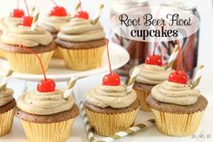 Root Beer Float Cupcakes are a fun & tasty spin on traditional Root Beer Floats! The flavor and festive touches make them perfect for summer entertaining.