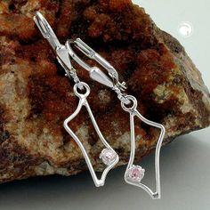 Brisur, Trapez Zirkonia pink, Silber 925