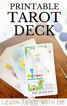 Create your own tarot deck with these downloadable and printable tarot cards from Learn Tarot With Me. You can color the images and use them as flashcards as you learn the tarot card meanings.