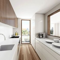 Kitchen Images & Inspiring Design Ideas Narrow Kitchen with a Large window opening White Galley Kitchens, Galley Kitchen Design, Simple Kitchen Design, Galley Kitchen Remodel, Best Kitchen Designs, Interior Design Kitchen, Kitchen Ideas, Kitchen Images, Kitchen Decor