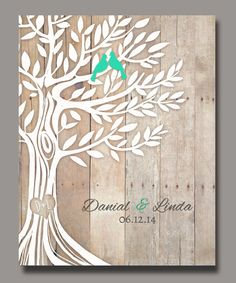 Personalized Wedding Gift Love Birds in Tree Newly by WordOfLove, $14.00