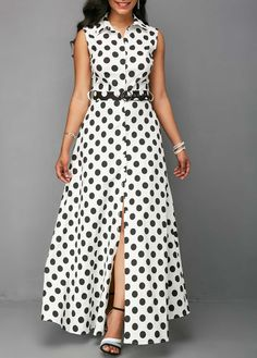 Rosewe Women Dress Shirt White Polka Dot Button Up Sleeveless Maxi Button Up Keyhole Back Dot Print Dress Button Up Maxi Dress, Dot Dress, Dress Shirt, African Fashion Dresses, Fashion Outfits, Frack, Western Dresses, Dress Patterns, Blouse Designs