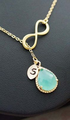 Personalized mint glass with infinity necklace from EarringsNation Mint and gold weddings mint + gold