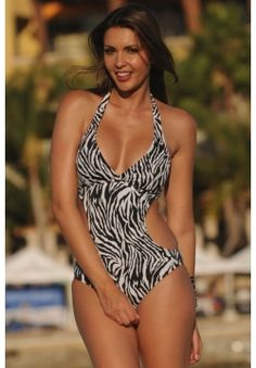 f8435088f43 Zebra Cut-Out Swimsuit - This will shape your most important curves just  right. Black and white zebra print is unique and fun! Your body will look  long and ...