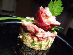 Tartare de magret de canard et quinoa, vinaigrette passion
