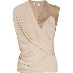 Helmut Lang Leather-trimmed draped voile top ❤ liked on Polyvore