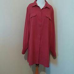 button down top Raspberry color microfiber, long sleeve Roamans Tops Button Down Shirts
