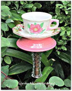 Teacup Bird Feeder Garden Totem Stake  As by GardenWhimsiesByMary, $32.00