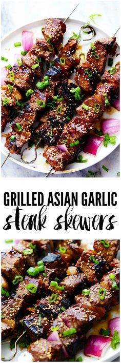 Grilled Asian Garlic Steak Skewers are marinated in a delicious asian sesame sauce and grilled to tender and juicy perfection! Grilled Asian Garlic Steak Skewers are marinated in a delicious asian sesame sauce and grilled to tender and juicy perfection! Steak Recipes, Grilling Recipes, Cooking Recipes, Healthy Grilling, Barbecue Recipes, Chicken Recipes, Vegetarian Grilling, Barbecue Ribs, Kebab Recipes