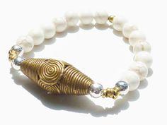Beaded Bracelet with Cream Howlite Semiprecious by rockstarsz, $26.99