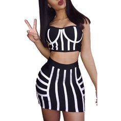 Black Spaghetti Straps Stripe Bodycon Two Piece Dress ($22) ❤ liked on Polyvore featuring dresses, black, bodycon two piece, 2 piece dress, two-piece dress, two-piece cocktail dresses and sexy dresses