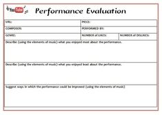 Music Performance Self Evaluation Worksheets, Band & Orchestra ...