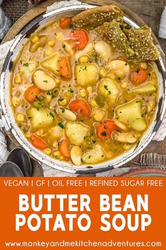 Creamy, wholesome, and delicious, this oil-free, low-fat Butter Bean Potato Soup is easy to make and brimming with plant-rich goodness. #wholefoodplantbased #vegan #oilfree #glutenfree #plantbased | monkeyandmekitchenadventures.com Gf Recipes, Veggie Recipes, Whole Food Recipes, Vegetarian Recipes, Healthy Recipes, Healthy Soups, Plant Based Recipes, Vegan Vegetarian, Soup Recipes