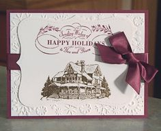 Gold Embossed Stampin Up Christmas Lodge Card, Choose Your Color