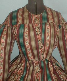 """Documented 1860's Multi Colored Cotton Print Vintage Dress 