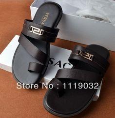 Zapatos clásicos de verano sandalias planas hombres caballero británico Flip Flops hombres moda playa zapatilla nuevo 2014 caliente venta                                                                                                                                                                                 Más