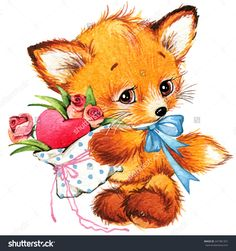 Valentines Day. Cute Fox And Love'S Heart. Watercolor Стоковые фотографии 241981357 : Shutterstock
