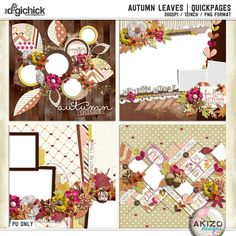 Autumn Leaves | Quickpages by Akizo Designs. Now available at The Digichick. Buy the Autumn Leaves Collection thru October 19  and you get this  Pack of Quickpages for Free!