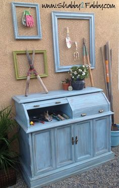 Roll-top desk to potting shed for hiding the mess.
