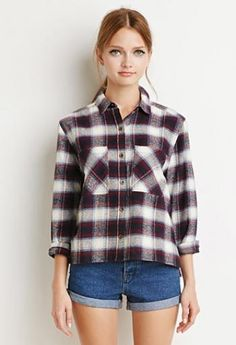 Forever 21 - Boxy Plaid Flannel Shirt - https://clickmylook.com/product/boxy-plaid-flannel-shirt/6829719