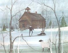 """""""Country School"""" by P Buckley Moss. Issued 1988. Image Size: 12-7/8 x 16-1/4 ins. RARE PRINT:   $275.   Canada Goose Gallery in Waynesville, Ohio. 513-897-4348. Largest inventory of P Buckley Moss art in the country!"""