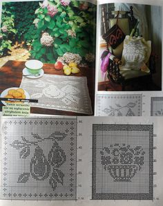 Crochet patterns. Pears and flower basket.