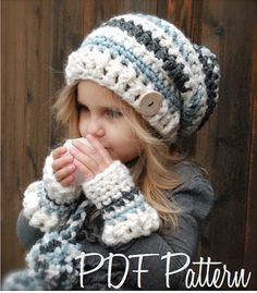 Crochet PATTERN-The Feyona Cap/Mitt Set Toddler by Thevelvetacorn