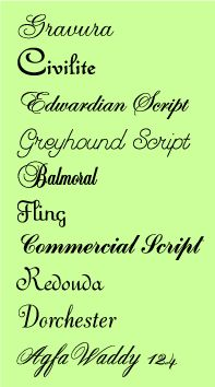 The fonts in this image are examples of script typefaces because they are in handwriting and have fluid letterforms. These fonts resemble the letterform of the 17th and 18th century.