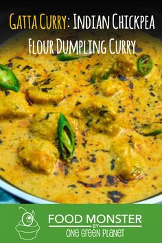 Gatta curry is a delicacy for Rajasthan, India. It's a tangy and spicy curry that the whole family will love. Curry Recipes, Veggie Recipes, Lunch Recipes, Chicken Recipes, Cooking Recipes, Healthy Recipes, Vegan Indian Recipes, Ethnic Recipes, Indian Chickpea Curry