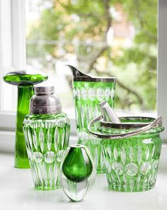 vintage cut glass (crystal?) barware ~ beautiful green