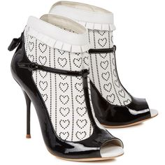 Sophia Webster Sadie monochrome laser-cut leather ankle boots ($545) ❤ liked on Polyvore featuring shoes, boots, ankle booties, sophia webster, heels, leather booties, ankle boots, open toe ankle boots, short boots and high heel ankle booties