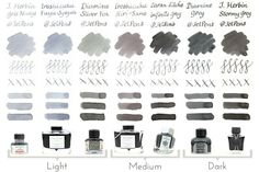Grey ink comparison. From JetPens blog.