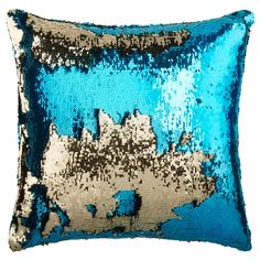 "Shiny Two-Tone Sequin Decorative Pillow 18"" X 18"" 