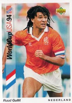 Ruud Gullit of Holland. 1994 World Cup Finals card. World Cup 94, World Cup Final, Kids Soccer, Soccer Stars, Ruud Gullit, Football Icon, Upper Deck, Holland Netherlands, Retro
