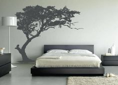 Cool black and white wall decor ideas for bedroom with white wall also tree wall decal with black white bed